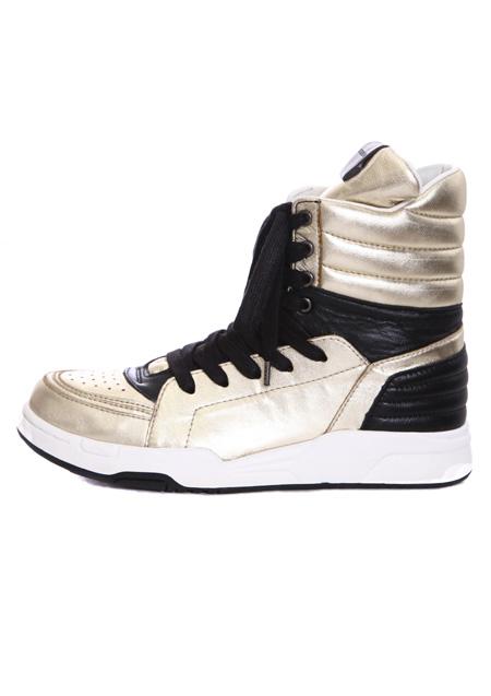 【 metallic leather side zip hi-cut sneaker 】 GOLD