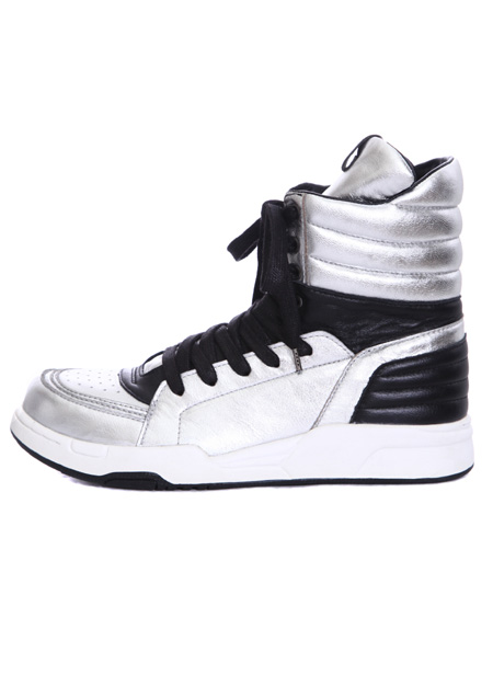 【 metallic leather side zip hi-cut sneaker 】 SILVER