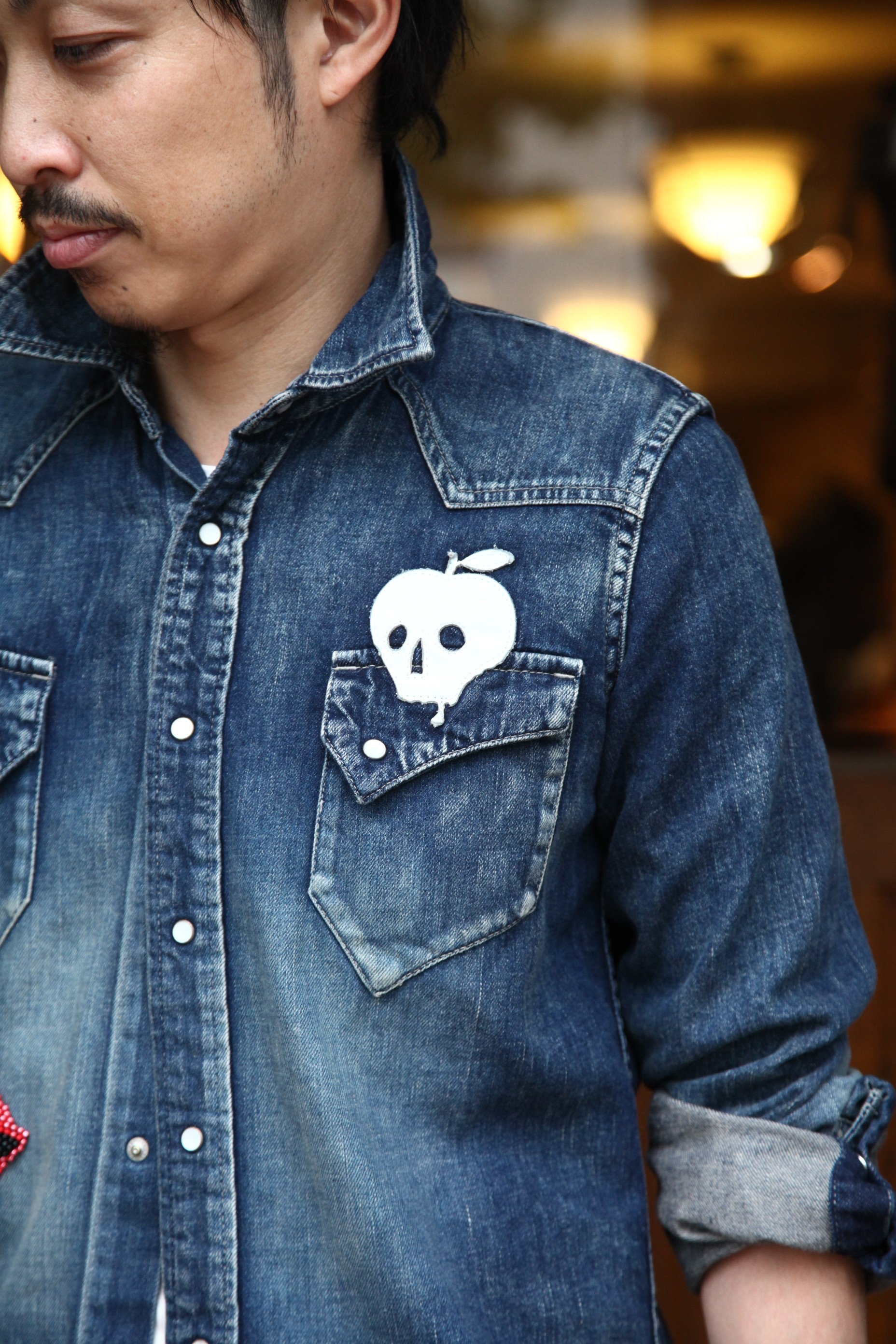 "MAXSIX APPLE SKULL DENIM LONG SHIRTS ""HardiVague 8th LIMITED"""