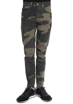 1PIU1UGUALE3  ORIGINAL BIG CAMO STRETCH DENIM TWIGGY PANTS
