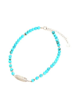 A.O.I SPIRAL TURQUOISE FEATHER ANKLET
