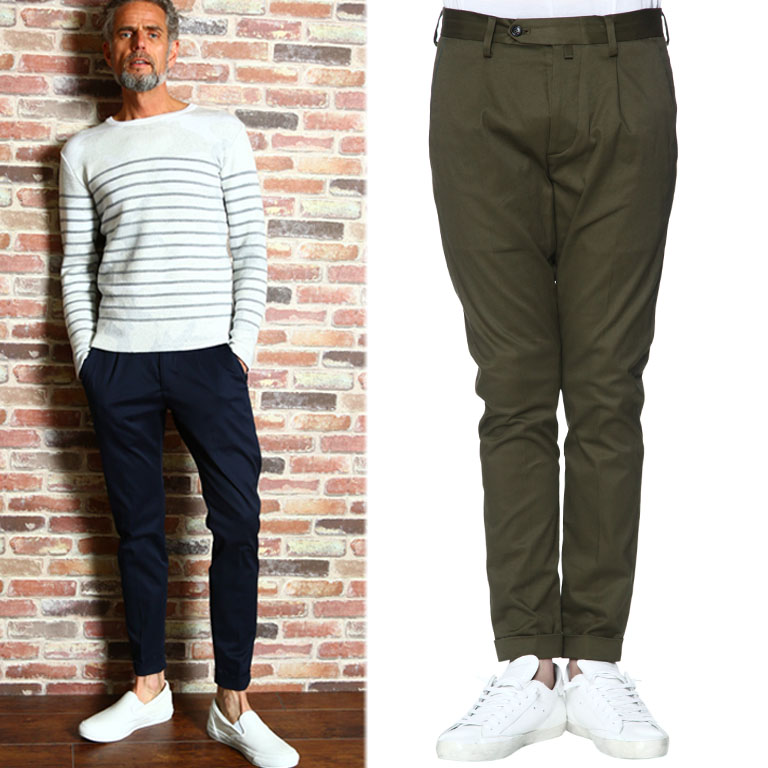AKM STRETCH COTTON PEACH 1TUCK TAPERED CHINO PANTS P142-CNP038