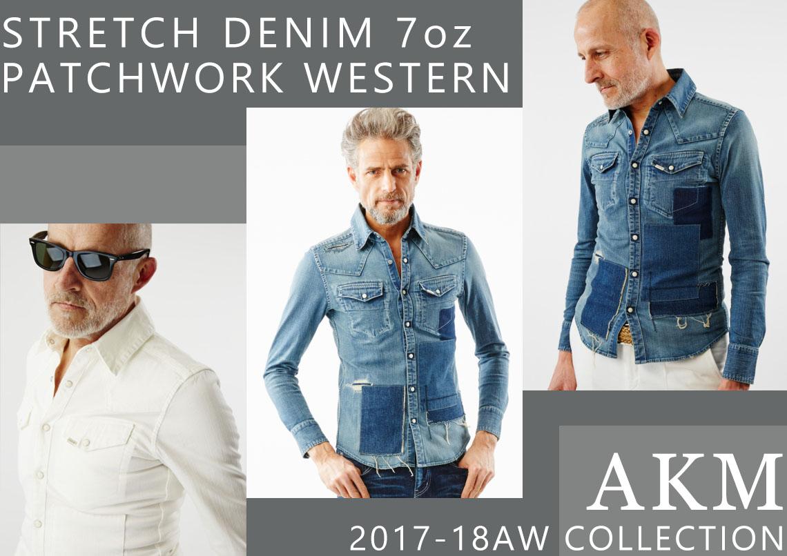 AKM STRETCH DENIM 7oz PATCHWORK WESTERN S072-CNU089
