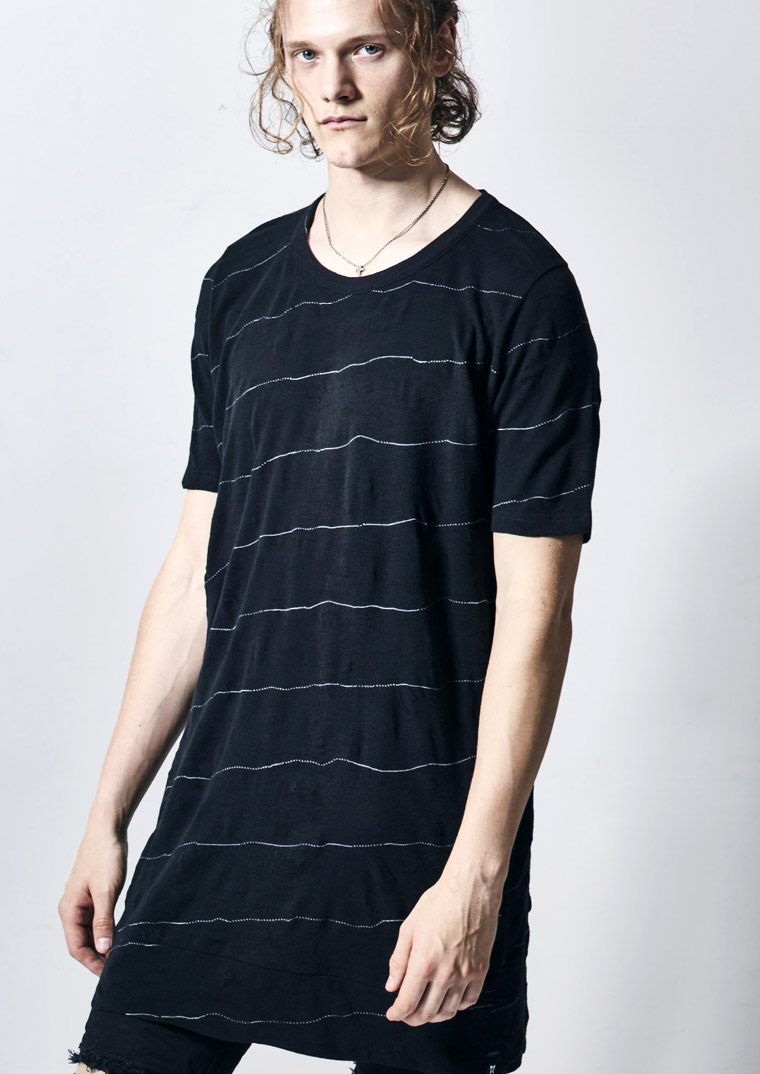 KD-HT36-051 TWIST BORDER SHIRRING T-SHIRT kiryuyrik キリュウキリュウ 2018SS 2018春夏