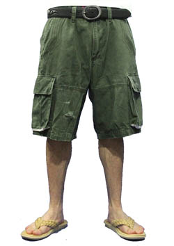 M WASHED MILITARY SHORT CARGO PANTS