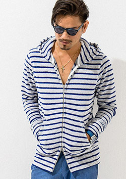 RESOUND CLOTHING EX PILE BORDER ZIPUP PARKA
