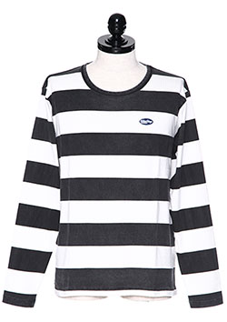 M WASHED PRINT BORDER BIG SILHOUETTE L/S T-SHIRTS