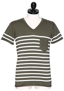 ITALY COTTON BY EMILCOTONI BORDER POCLET V-NECK T