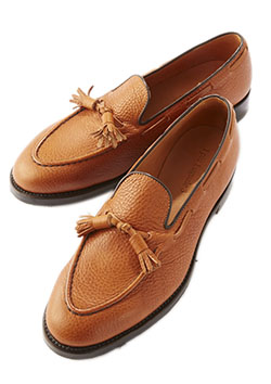 1PIU1UGUALE3 NATURAL SHIRINK COW LEATHER TUSSEL LOAFER