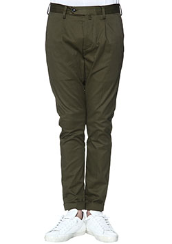 AKM STRETCH COTTON PEACH 1TUCK TAPERED CHINO PANTS