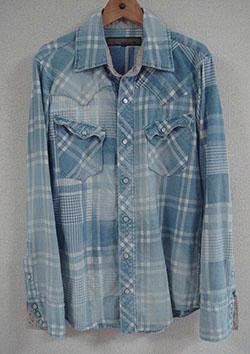 AYUITE インディゴモノチェック SWシャツ USED加工