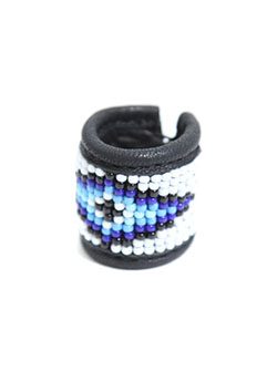 BEADS LEATHER RING 002