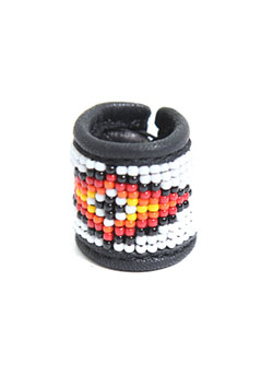 SATANTA BEADS LEATHER RING 002