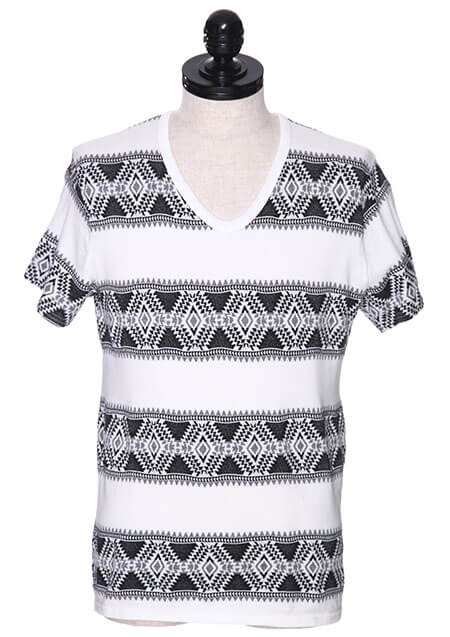 ORIGINAL TRIBAL BORDER S/S V-NECK