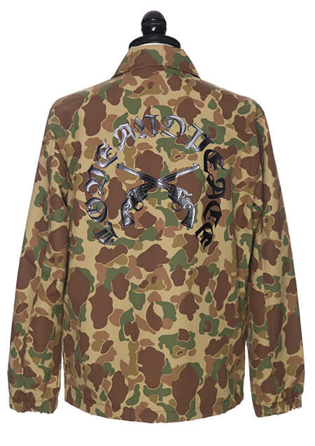LOVE AND PEACE PISTOL RUBBER PRINT COACH JACKET