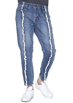 JOINED TIGHT STRAIGHT DENIM PANTS