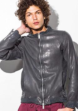製品染レザーシングルライダースジャケット