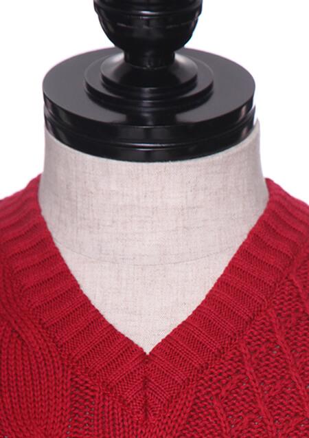 RAFFY COTTON CABLE PATCH V-NECK