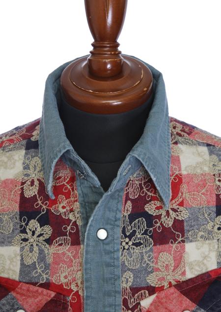 チェック刺繍シャツ