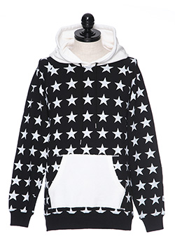 SWEAT PULLOVER HOODIE (STAR PATTERN)