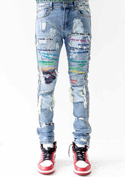 DO YOU THINK I,m CRAZY RAINBOW EMBROIDERED JEANS