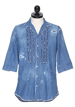 RUFFLE TRIM DENIM SHIRT