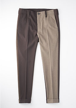 TR WARM(CRAZY CHECK)RIB TAPERED SLACKS CRAZY