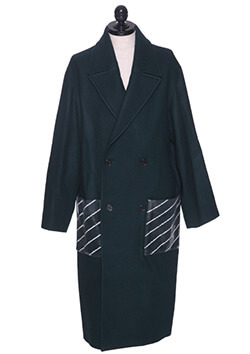 TRANSPERANT POCKET LONG PEACOAT