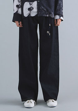WIDE LEG LIGHT DENIM TROUSERS