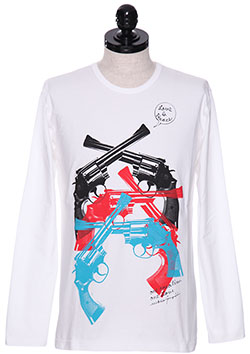 x ONEMADE OVERLAID PISTOL PAINT LONG SLEEVE TEE