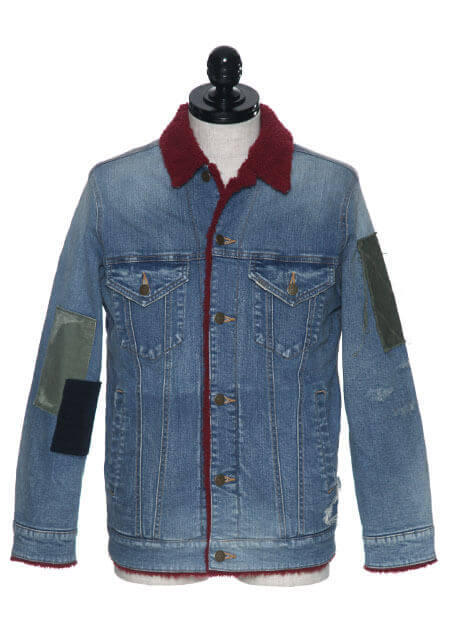 STRETCH DENIM 13oz BOA MILITARY TEX PATCHWORK BOA 3RD JACKET