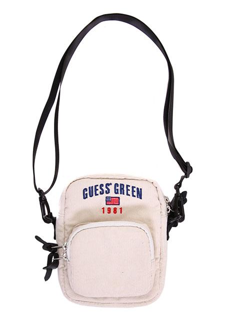 GUESS GREEN 1981 CORDUROY SHOULDER BAG