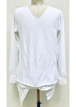 SUPER TWISTED JERSEY THREE LAYERED-STYLE V-NECK DRESS SHIRT