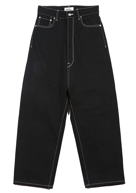 KIDILL Wide Tapered Denim Pants - BLACK