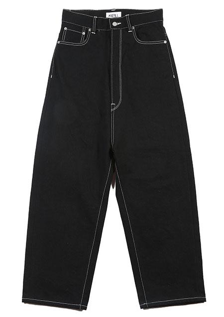 KIDILL Wide Tapered Denim Pants - BLACK