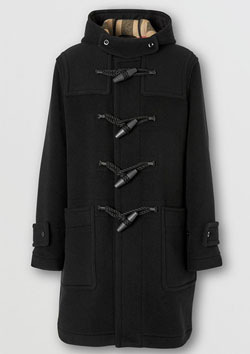 BURBERRY CHECK LINNING TECHNICAL WOOL DUFFLE COAT | A1003 BLACK IP CHECK
