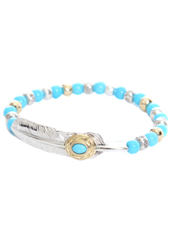 EAGLE FEATHER SLEEPING BEAUTY TURQUOISE BRACELET -LARGE-