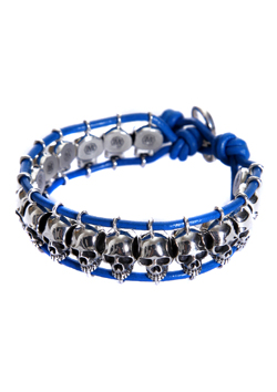 A.O.I SKULL LEATHER BRACELET_BLUE