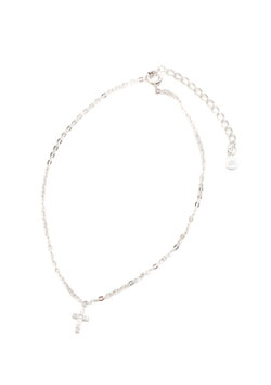 TINY CROSS DIAMOND ANKLET