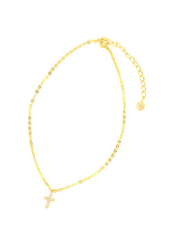 A.O.I TINY CROSS DIAMOND ANKLET