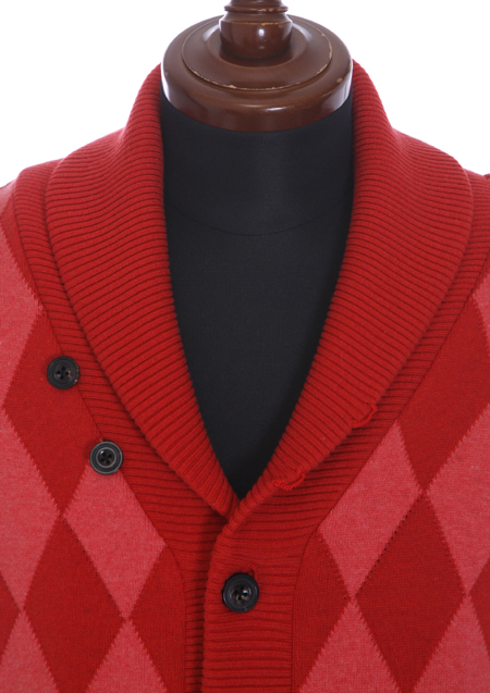 PIMA COTTON BY EMILCOTONI MADE IN ITALY ARGYLE SHAWL CARDIGAN KNIT