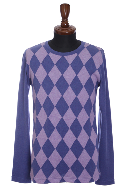 PIMA COTTON BY EMILCOTONI MADE IN ITALY ARGYLE L/S CREW KNIT