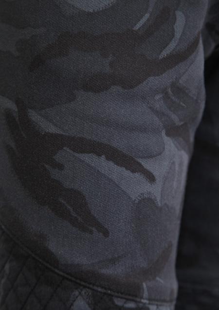 CAMO PRINT SWEAT DENIM RIB BIKIKER PANTS
