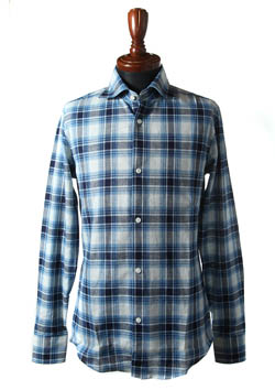 PLAIN L/S INDIGO CHECK SHIRTS