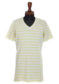 1PIU1UGUALE3 3D V-NECK S/S BORDERX BORDER NATURAL/YELLOW