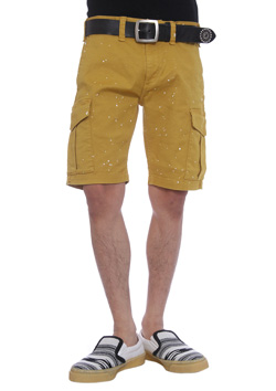 PAINTED STRETCH COTTON KNEE UP CARGO PANTS