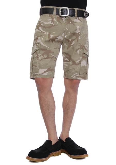 PAINTED ORIGINAL STRETCH CAMO KNEE UP CARGO PANTS