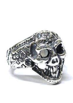 BILL WALL LEATHER GRAFFITI SMALL GOOD LUCK SKULL RING